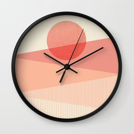 Abstraction_SUNSET_LINE_ART_Minimalism_001 Wall Clock