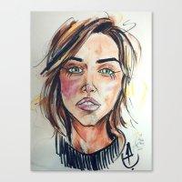 khaleesi Canvas Prints featuring Emilia Clarke by artistathenawhite
