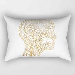 Head Profile Branches - Gold Rectangular Pillow