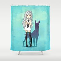 doberman Shower Curtains featuring Doberman by Freeminds