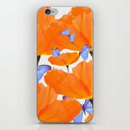 Poppies And Butterflies White Background #decor #society6 #buyart iPhone Skin