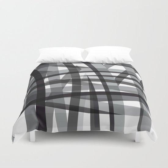 grey crossed stripes Duvet Cover