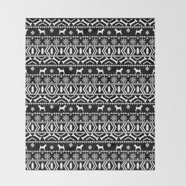 Chihuahua fair isle christmas sweater black and white minimal chihuahuas dog breed Throw Blanket