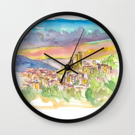 Pacentro Skyline in Province of L'Aquila in Abruzzo, Italy Wall Clock
