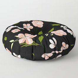 Pink Coral floral watercolor pattern - BLACK Floor Pillow