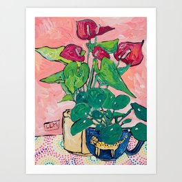Houseplant Still Life Painting with Cheetah, Pilea, and Anthurium  Art Print