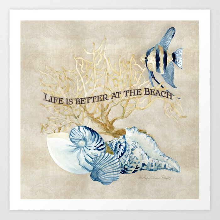 Indigo Ocean Sea Shells Angelfish Coral Watercolor Artwork Art Print