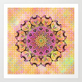 Pastel Rainbow Flower Mandala, Ultra Violet Geometric Boho Kaleidoscope Popart Art Print