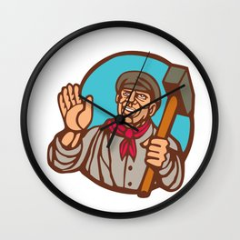 Union Worker With Sledgehammer Linocut Wall Clock