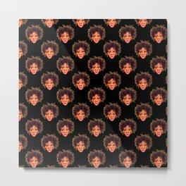 Natural Hair Afro Girl Pastel Metal Print