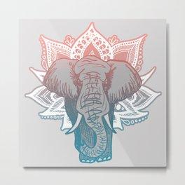 Lotus Elephant Mandala Metal Print