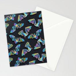 Psychedelic Bats on Black Stationery Cards