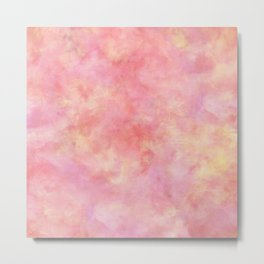 Blush Pink & Peach Marble Watercolor Texture Metal Print