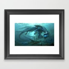 Blue Dragon v2 Framed Art Print