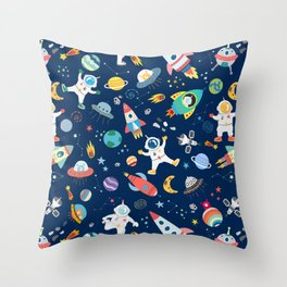 Outer Space Astronauts Aliens Pattern Blue Throw Pillow