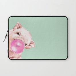 Bubble Gum Sneaky Baby Pig in Green Laptop Sleeve