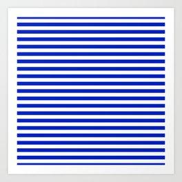 Cobalt Blue and White Thin Horizontal Deck Chair Stripe Art Print