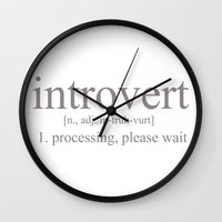 introvert Wall Clocks featuring Introvert by Lily Art