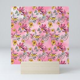 Dancing Flowers Pink Mini Art Print