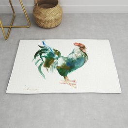 Rooster, Turquoise Blue Brown Kitchen art Rug
