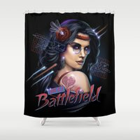 battlefield Shower Curtains featuring Love is a Battlefield by Rocky Davies