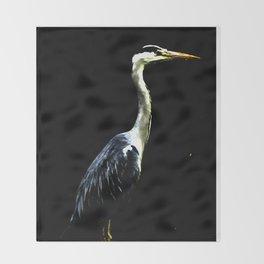 Heron on Black Throw Blanket