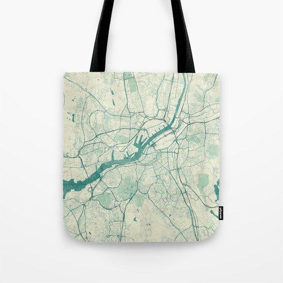 Gothenburg Map Blue Vintage Tote Bag