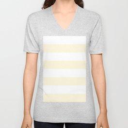 Wide Horizontal Stripes - White and Cornsilk Yellow Unisex V-Neck