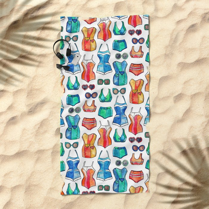 Sixties Swimsuits and Sunnies on white Beach Towel