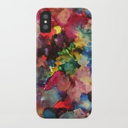 Color Burst - abstract iridescent painting in yellow, red, blue, pink and green iPhone Case