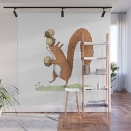 Squirrel With Acorns Wall Mural