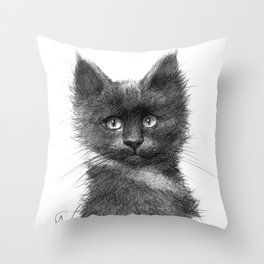 Black Kitten SK135 Throw Pillow