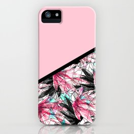 Blush Pink and Teal Abstract Tropical Leaves iPhone Case