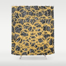 Abstract Beehive Yellow & Black Pattern Shower Curtain