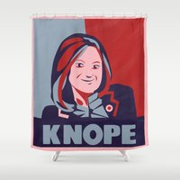 leslie knope Shower Curtains featuring vote for knope by studiomarshallarts