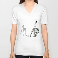 cheetah V-neck T-shirts featuring Cheetah by Cole Design