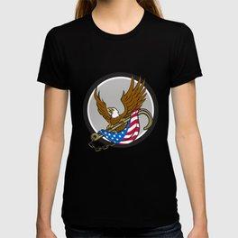American Eagle Clutching Towing J Hook Flag Circle Retro T-shirt