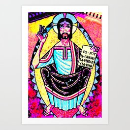 Colorful Hippie Jesus Art Print