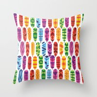 feathers Throw Pillows featuring Feathers by Wharton