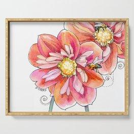 """bee inspired"" (no text) watercolor garden art Serving Tray"