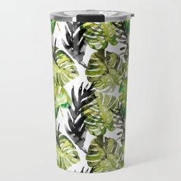 Watercolor monstera areca leaves illustration Travel Mug