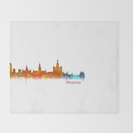Moscow City Skyline art HQ v2 Throw Blanket