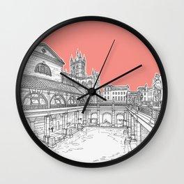 City Of Bath (Coral Pink Version) Wall Clock