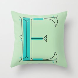 Drop Cap E - decorative letter - typography - monogram - capital Throw Pillow