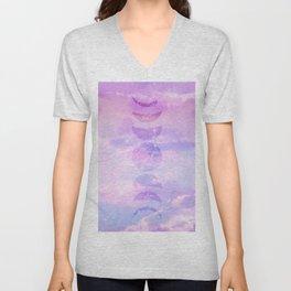 Unicorn Pastel Clouds Moon Phases #3 #decor #art #society6 Unisex V-Neck
