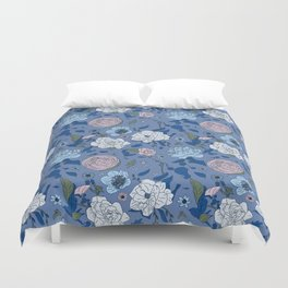 Lovely Seamless Floral Pattern With Subtle Poodles (Hand Drawn) Duvet Cover