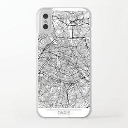 Paris Map White Clear iPhone Case