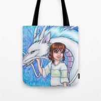 chihiro Tote Bags featuring Spirited Away Chihiro and Haku by Kimberly Castello