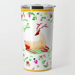 Christmas deer mixed media art Travel Mug