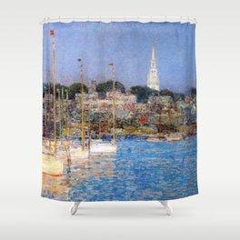 Newport Harbor, Newport, Rhode Island - Cat Boats by Frederick Childe Hassam Shower Curtain